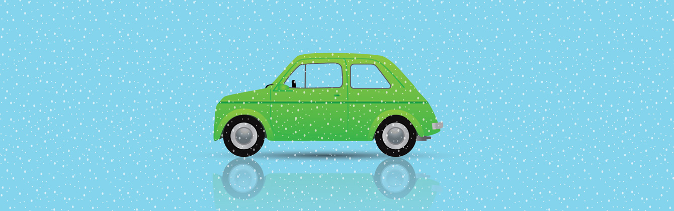 Illustration of a Green car in snow