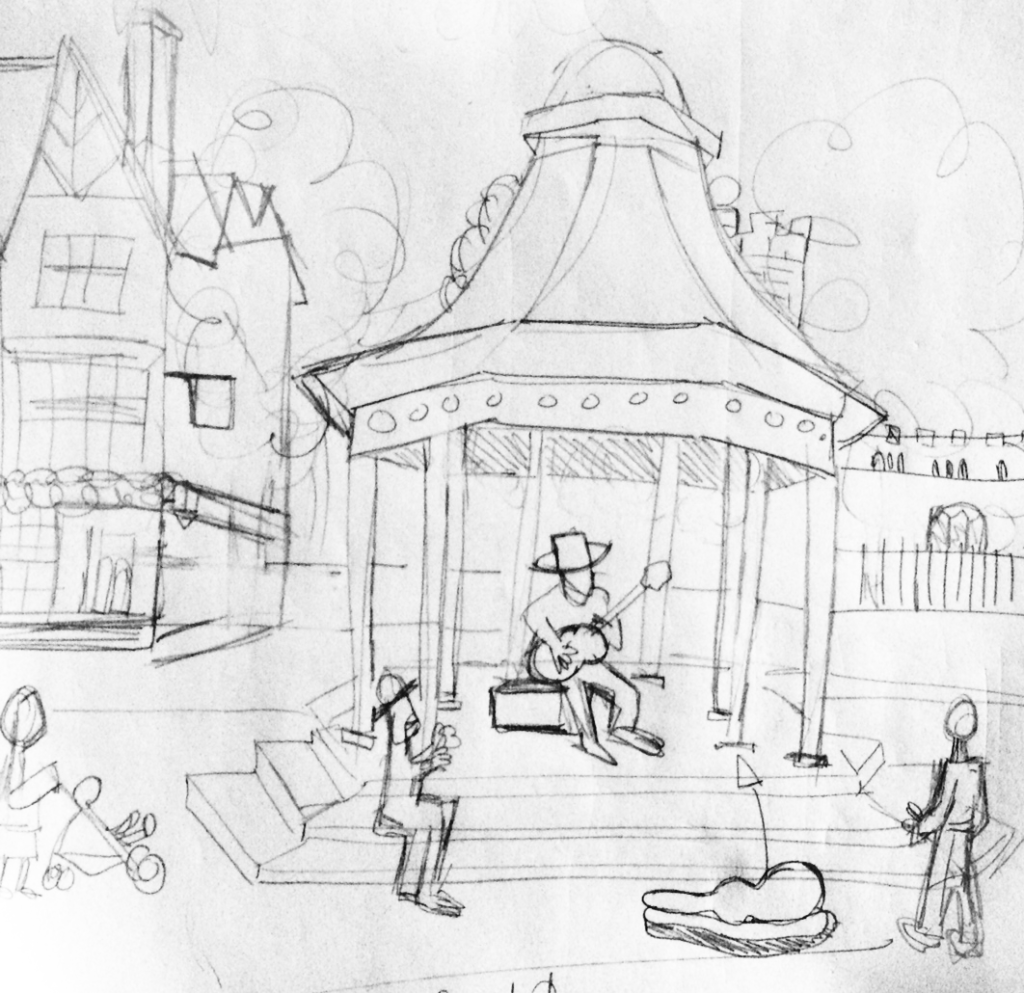 Sketch of busker in the market