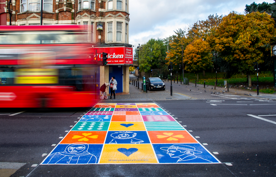 colourful photo of the crossing in edmonton green designed by Kareen Cox