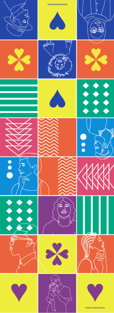 Pedestrian crossing featuring vibrant colours of patterns and portraits designed by Kareen Cox