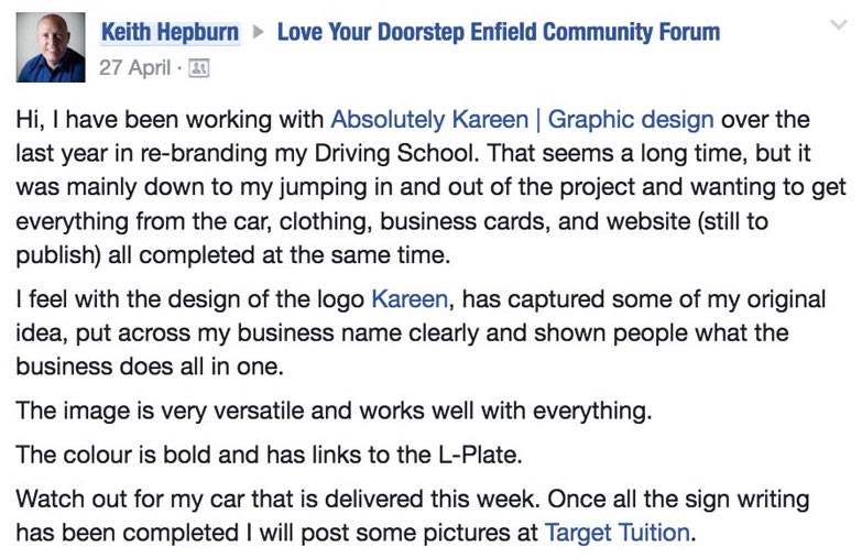 Keith Hepburn of Target Tuitions testimonial for his newly designedlogo