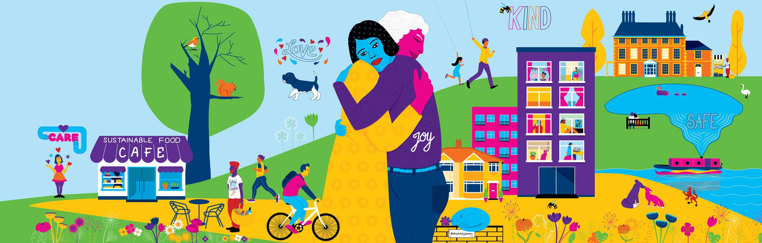 The Hug art showing two people hugging