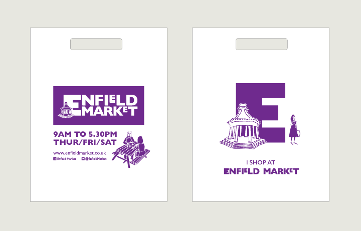 Bags saying that I Shop at Enfield Market.