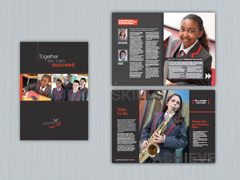 Heron Hall secondary school academy brochure design