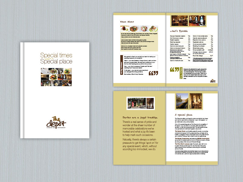 The Depot Brassierie restaurant brochure design