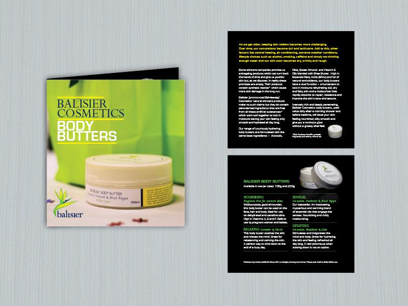 Balisier organic cosmetics brochure leaflet branding design