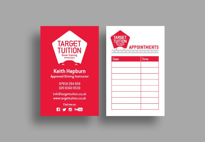 Driving school tuition business card design with an appointment card on the back