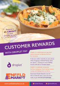 Droplet poster advertising that there is a customer aware scheme on Enfield Market