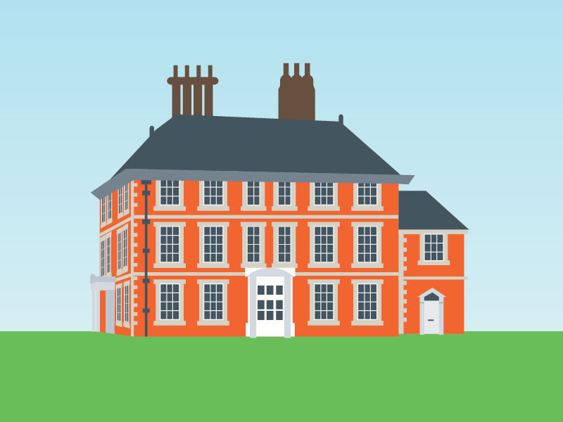 Illustration of Forty Hall, Enfield. Surrounded by green grass