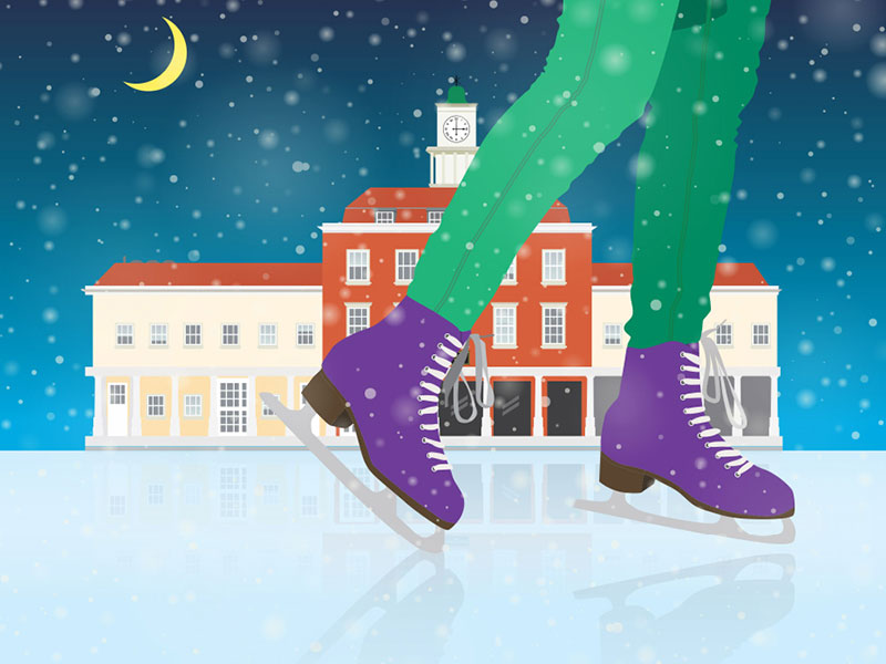 Illustration of Tollgate House, Romford with a skater in front of the house