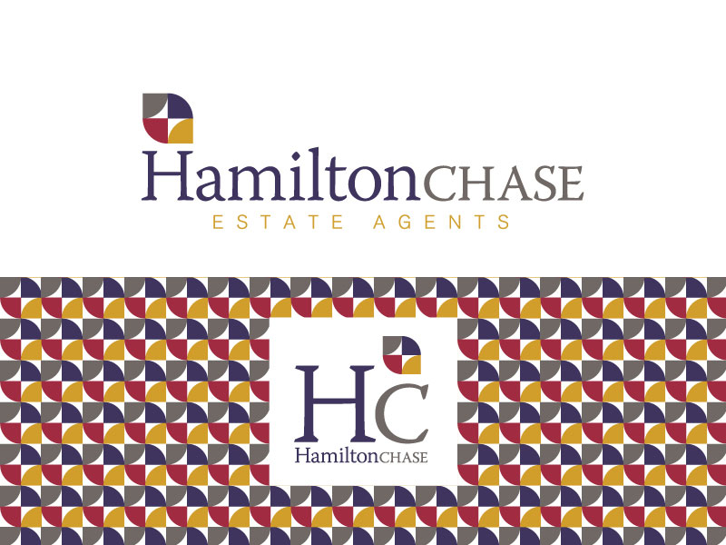 Hamilton chase estate agents logo. Colours are purple, red, ochre and stone