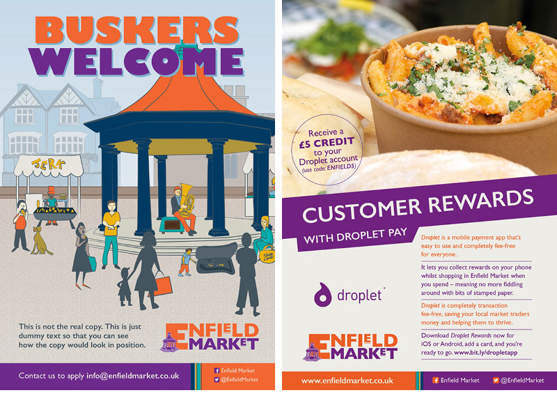 Two posters. One showing and illustration of a busker in the market house another one showing customer rewards with the Droplet app