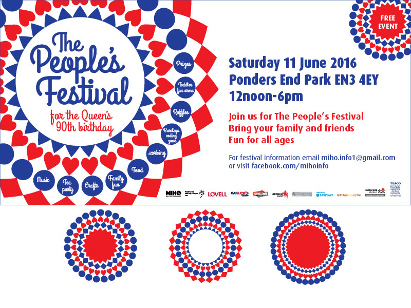 Poster with a red, white and blue, graphic celebrating the queens 90th birthday