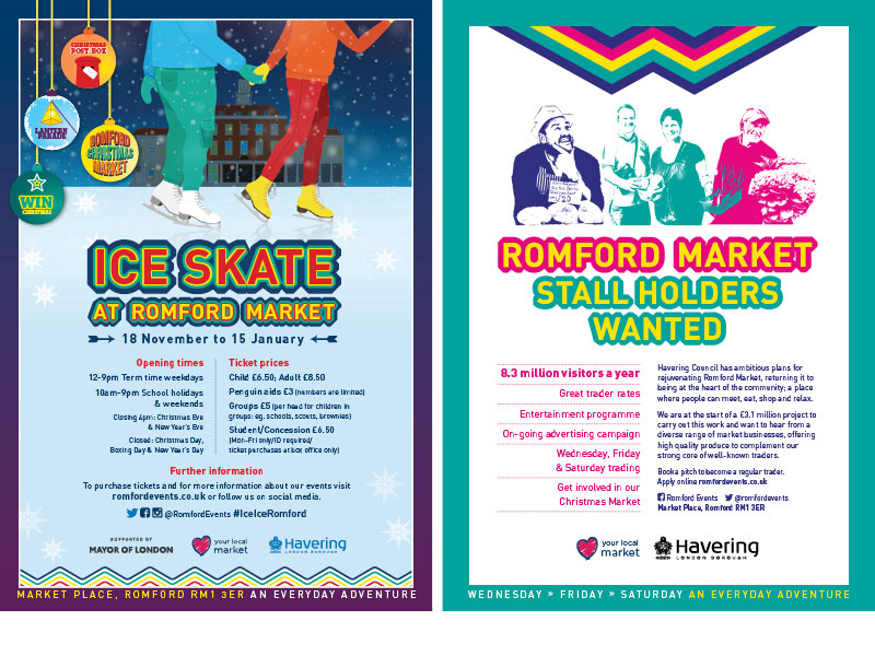 Romford ice skating poster and a market advert stating that stall holders are wanted.