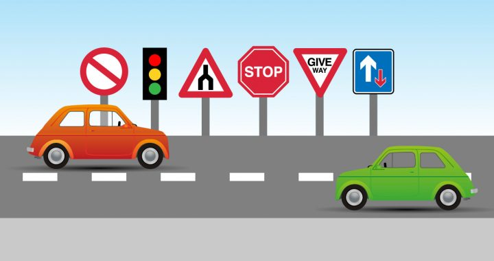 Rebranding a driving school blog header with road signs in the background