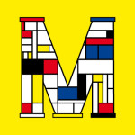 red, blue, yellow and black rectangles in the shape of an M