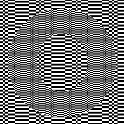 graphic made up on different sized black and white rectangle which make your eyes go a little funny