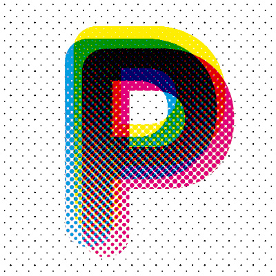 three letters of cyan, magenta and yellow overlayed and the colour are mixed