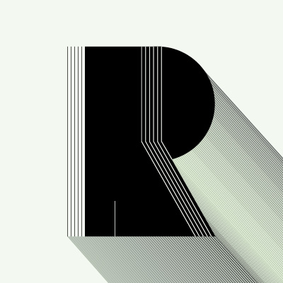 black lettering with lines and a 3d effect