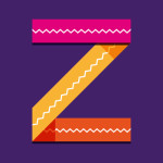 Stripey overlaid ribbons forming a zed