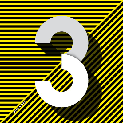 diagonal yellow and black strikes overlayed with the number