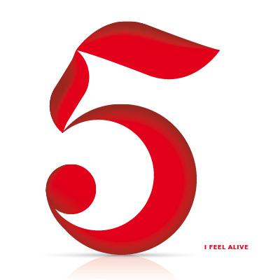 elegant number five in red