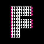 Triangle shaped lettering in black and white finishing off with pink ends