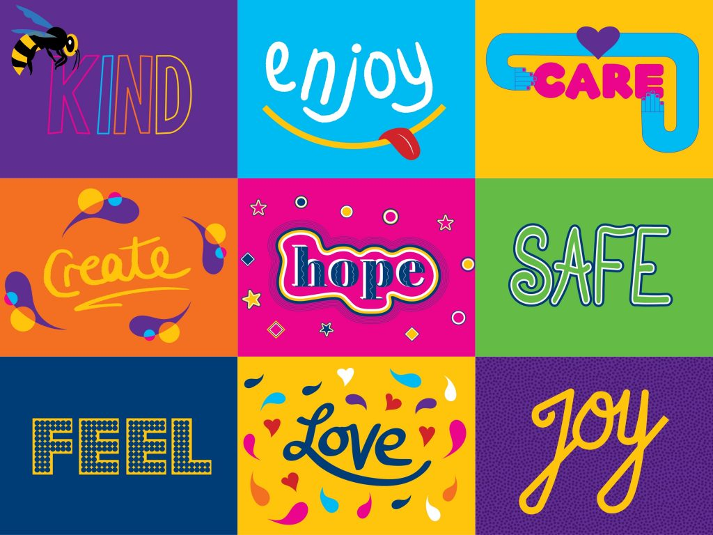 Typography designed for The Dugdale Centre. Featuring words of hope, safety, love and joy