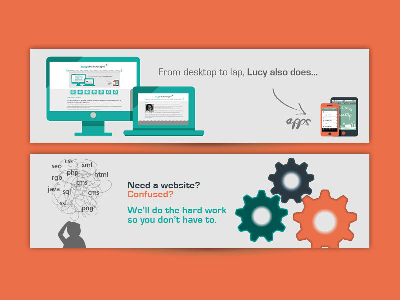 Lucy Web Designs website banners